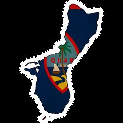 Guam Map On Guam Flag Drawing Sticker