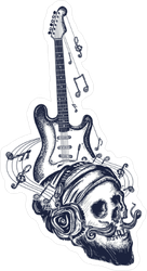 Guitar And Human Skull Sticker