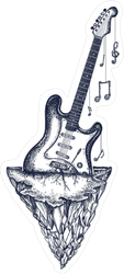 Guitar And Mountains Sticker