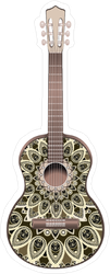 Guitar Decorated With Ethnic Ornaments Sticker