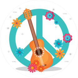 Guitar & Flowers Hippie Peace Symbol Sticker