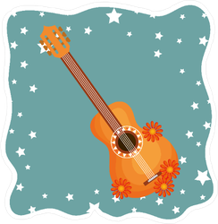 Guitar With Flowers and Stars Hippie Culture Sticker
