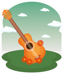 Guitar With Flowers Hippie Culture Sticker