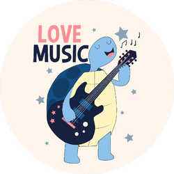 Guitarist Turtle Sticker