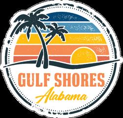 Gulf Shores Alabama Vintage Beach Design Sticker