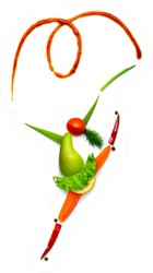 Gymnast Made Of Vegetables And Fruits Sticker
