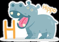 H For Hippo Sticker