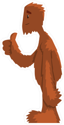 Hairy Cartoon Bigfoot Giving Thumbs Up Sticker