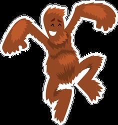 Hairy Cartoon Bigfoot Jumping Sticker