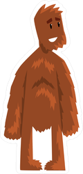 Hairy Cartoon Bigfoot Standing Sticker