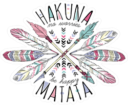 Hakuna Matata Arrows And Feather Sticker