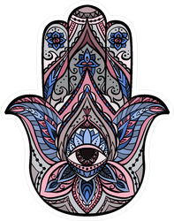 Hamsa With Boho Pattern Sticker