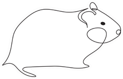 Hamster One Line Drawing Sticker