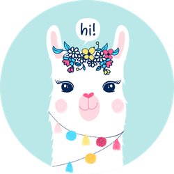 Hand Drawing Llama Illustration Sticker