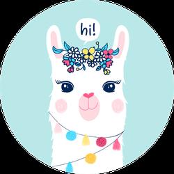 Hand Drawing Llama Illustration Sticker