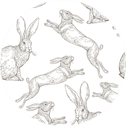 Hand Drawing Pattern With Rabbits Vintage Sticker