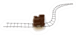 Hand Drawing Railway With Chocolate Train Toy Sticker