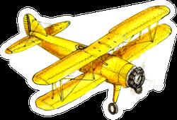 Hand Drawing Retro Aircraft Illustration Yellow Sticker