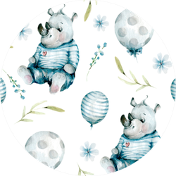 Hand Drawing Watercolor Pattern With Cute Rhino Sticker