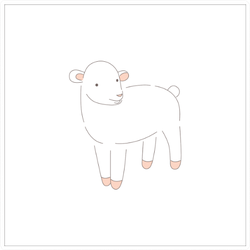 Hand Drawing Young Easter Lamb Sticker