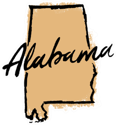 Hand Drawn Alabama State Sticker