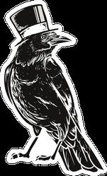 Hand-drawn Black Crow In Top Hat Sticker