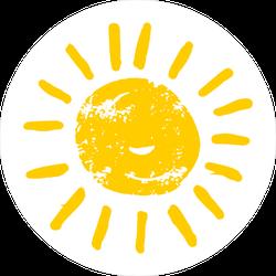 Hand Drawn Cartoon Sun Sticker