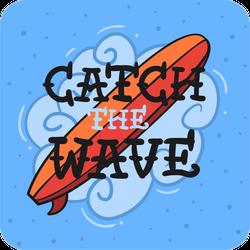 Hand Drawn Catch The Wave Sticker