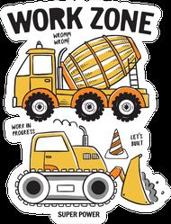 Hand Drawn Construction Machines Concept Sticker