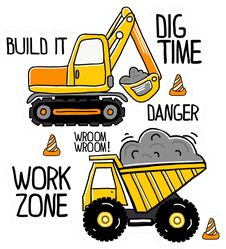 Hand Drawn Construction Machines Tractor Sticker