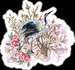 Hand Drawn Crane Bird And Flower Bouquet Illustration Sticker