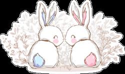 Hand Drawn Cute Bunny, Print Design Sticker