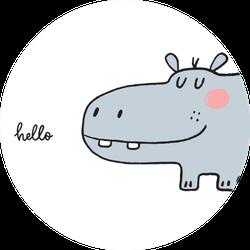 Hand Drawn Cute Hippo Hello Sticker