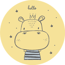 Hand Drawn Cute Hippo Illustration With Crown Sticker