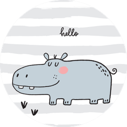 Hand Drawn Cute Hippo On Stripes Sticker