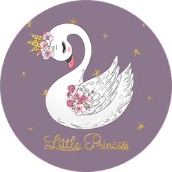 Hand Drawn Cute Little Princess Swan On Purple Sticker