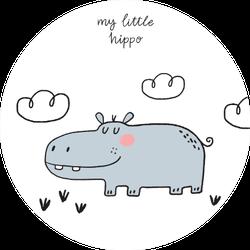 Hand Drawn Cute My Little Hippo Sticker