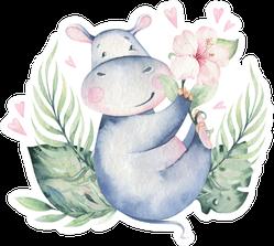 Hand Drawn Cute Summer Watercolor Hippo Sticker