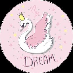 Hand Drawn Cute Swan Dream Lettering Sticker
