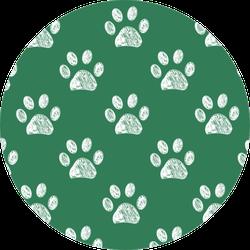 Hand Drawn Doodle Paw Prints Green Sticker