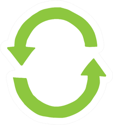 Hand Drawn Doodle Sketch Green Recycle Symbol Sticker