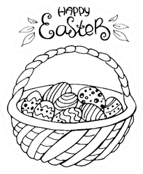 Hand Drawn Easter Basket With Lettering Sticker