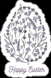Hand Drawn Easter Egg Illustration Floral Lettering Sticker