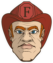 Hand Drawn Firefighter Face Sticker