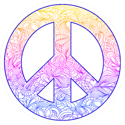 Hand Drawn Floral Peace Symbol Sticker