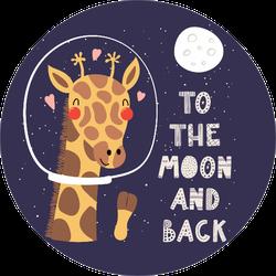 Hand Drawn Giraffe Art To The Moon And Back Sticker