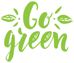 Hand Drawn Go Green Sticker