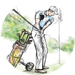 Hand Drawn Golf Illustration Sticker