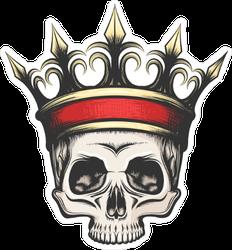 Hand Drawn Human Skull In Crown Sticker
