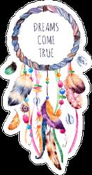 Hand Drawn Illustration Dreams Come True Boho Dreamcatcher Sticker